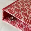 Ring Binder covered in Selvedge Madder patterned paper by Cambridge Imprint