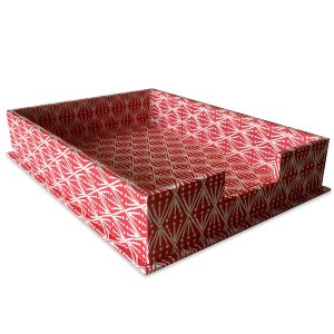 Cambridge Imprint Letter Trays covered in Selvedge patterned paper