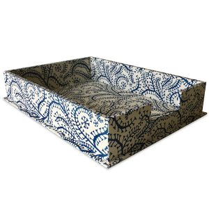 Cambridge Imprint Letter Trays covered in Seaweed Paisley patterned paper