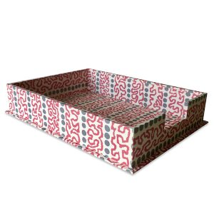 Cambridge Imprint Letter Trays covered in Charleston Meander patterned paper