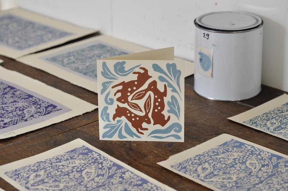 Cambridge Imprint Three Hares card