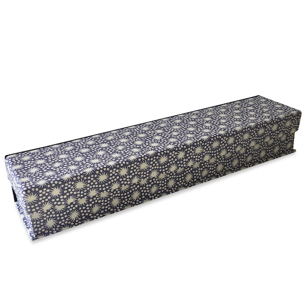 Pen Box covered in Animalcules Dusk patterned paper by Cambridge Imprint