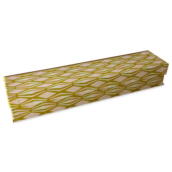 Pen Box covered in Threadwork Calamine and Yellow patterned paper by Cambridge Imprint
