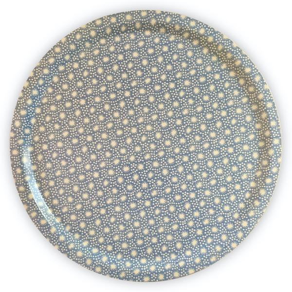 Cambridge Imprint Round Birch Tray in Animalcules Blue