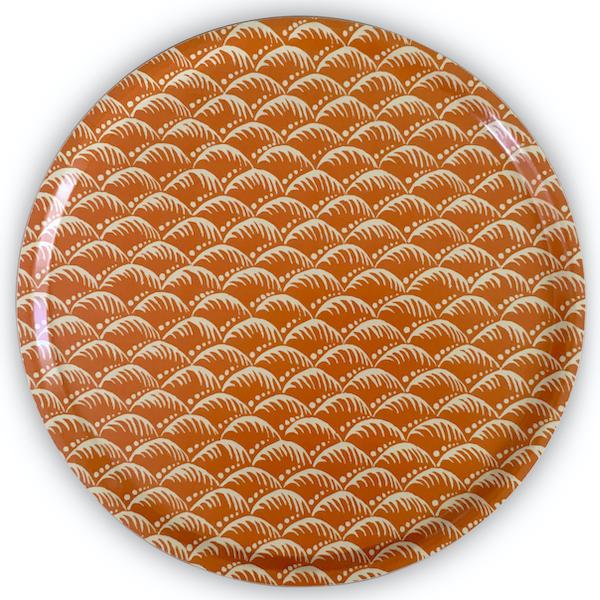 Cambridge Imprint Round Birch Tray in Wave Blood Orange