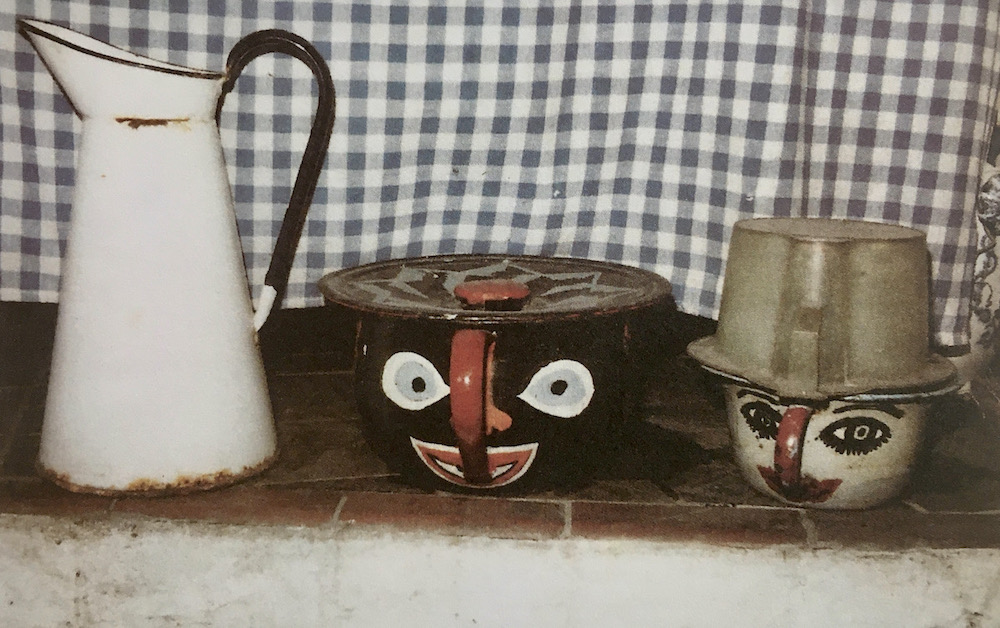 Chamber pots and enamel water jug in the scullery at Furlongs. Louis Ullman.