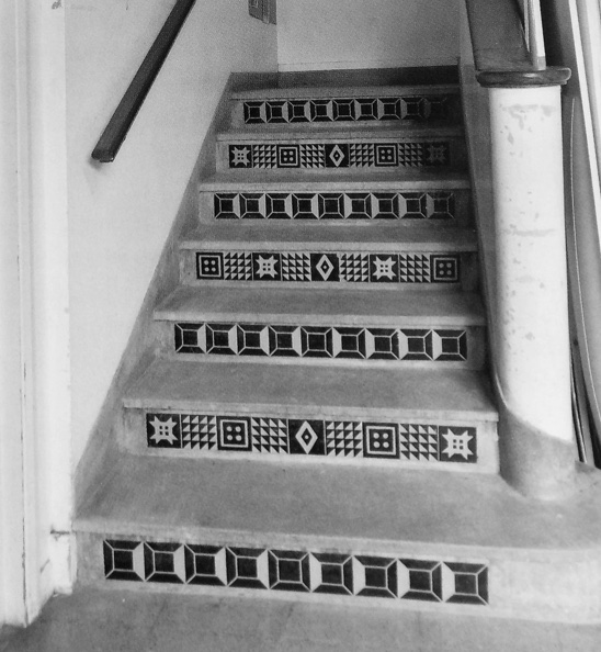 Stairs at NLCS designed by Peggy Angus and her pupils