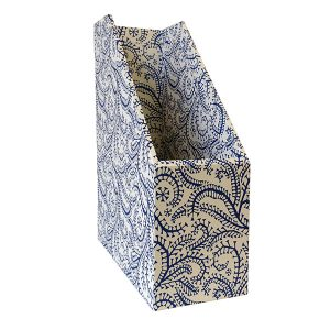 Magazine File Seaweed Paisley Prussian Blue by Cambridge Imprint